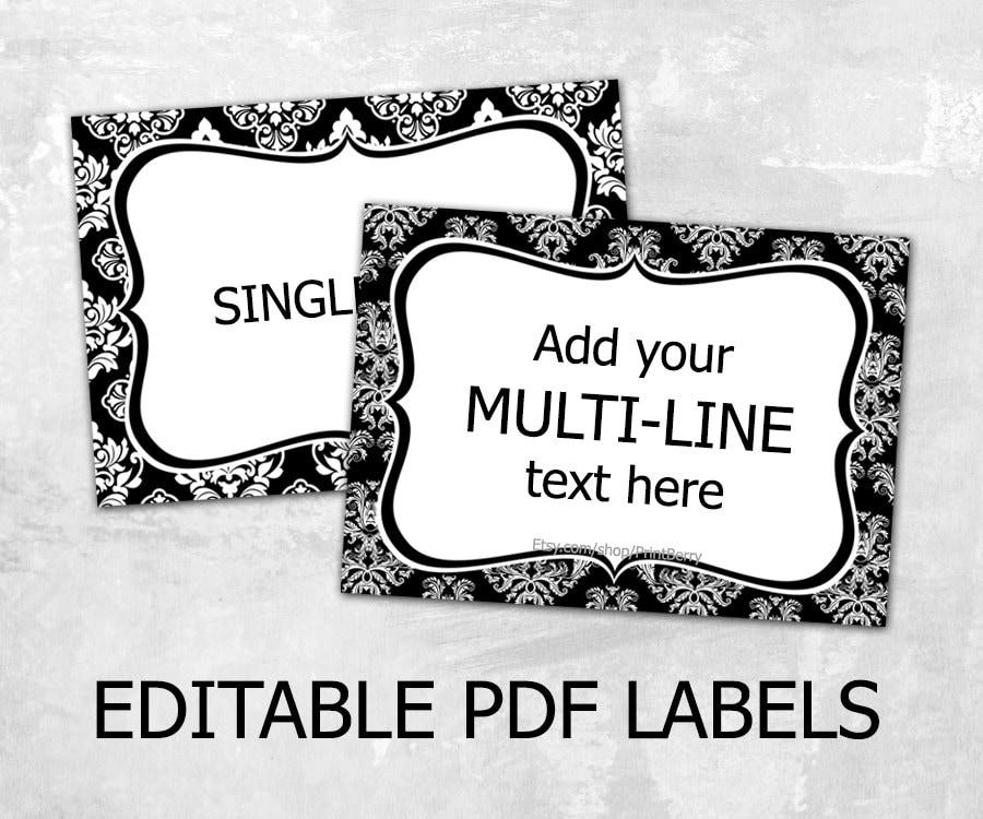 Editable Damask Labels Editable Labels For Mason Jars Label