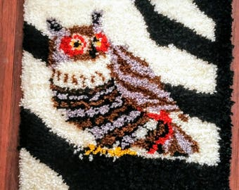 Owl Wall Hanging | Rug Hooking Kit, Completed Latch Rug, Owl Bath Mat,