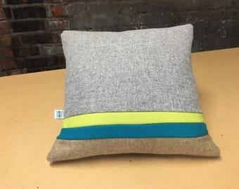 Wool Colour Block Cushion - double stripe