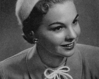 Angora Knitted Hat and Pom-Poms Vintage Pattern - 40s 50s - PDF eBook