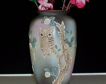 Vintage Porcelain Moriage Owl Vase ~ Made In Japan