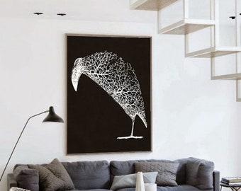 Crow Wall Art, Black And White Art Downloadable, Bird Wall Art Print, Crow Print, Birds Wall Art, Birds Art Prints, Digital Bird Prints