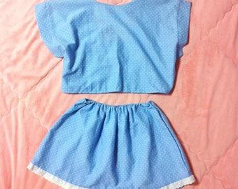 Vintage Blue Polka Dot Matching Set, Light Blue Polka Dot Co-ord Set, Polka Dot Matching Top and Skirt Set, Crop Top and Skirt Set