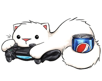 """Gamer Cat Pepsi Cola Kitty Print 5x7"""" Playstation Soda Art for Nerds and Video Gamers"""
