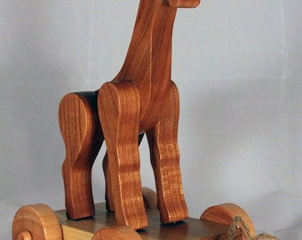 Wooden Pull Toy Giraffe, Child Safe, Handcrafted from Reclaimed Wood, Eco Friendly by GiggleTree Toys