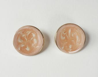 vintage marbled pink circle earrings   vintage hoops   pierced earrings   statement earrings   90s earrings   Able Shoppe