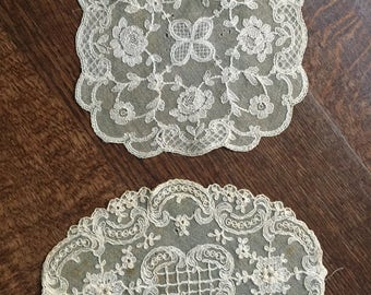 Precious antique Belgian lace doily textile art needlework Flemish Bruges Brussels embroidery bobbin lacemaker rare collectible bourgeoisie