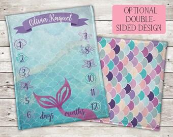 Mermaid Milestone Blanket, Mermaid Blanket, Mermaid Baby Blanket, Custom Baby Blanket, Milestone Blanket, Girl Blanket, Personalized Blanket