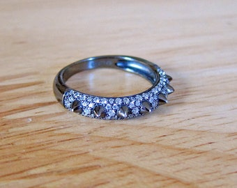 Sterling Silver and Marcasite European Ring  Size 7 3/4 US