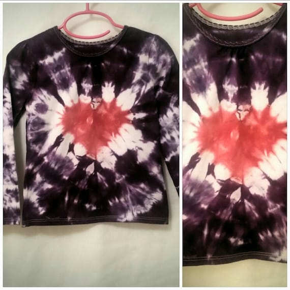 Valentines Day Gift for Her/Kids/Youth/Children/Tie Dyed Heart in Deep Purple and Baby Pink/