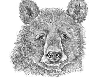 Black Bear Art, Black Bear Art, Bear Art Print, Bear Drawing, Black Bear Art, Black Bear Wall Art, Bear Illustration, Black Bear Print, Bear