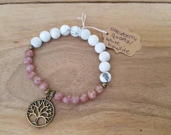 Strawberry quartz and white howlite tree of life bracelet