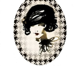 25x18mm cabochon woman's face (coco chanel)