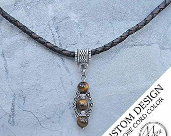 Mens Custom Handcrafted Natural Stone Tiger Eye Bead Antique Silver Stud Pendant Genuine Braided Bolo Leather Cord Necklace