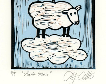 linocut, sheep, lamb, cloud, bird, blue and white, nursery, girls room, boys room, home decor, nursery decor, printmaking