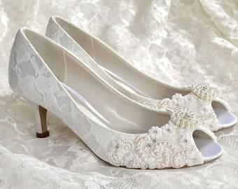 """Wedding Shoes  Medium Heels Custom Colors - Vintage Wedding Lace Peep Toe Wedding Heels, Women's Bridal Shoes PBP 2.25"""" Heels- Pink 2 Blue"""