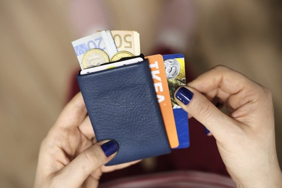 2x Nero Wallets - Leather Wallet + Denim Wallet, Minimalist Wallet, Woman Wallet, Man Wallet, 4+1 RFID Protection Wallet