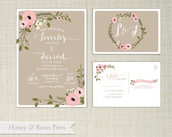 Elegant Floral Wedding Invitation  .  Wildflower Wedding Invite  .  Rustic Blush Wedding . Printable Wedding Invite