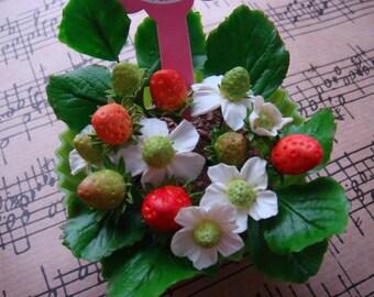 Handmade Mini Strawberry Cupcake Bouquet (CF0026)