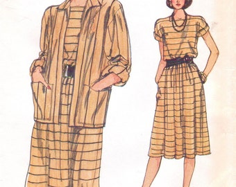 80s Womens Unlined Jacket & Summer Pullover Dress Very Easy Vogue Sewing Pattern 8604 Size 8 10 12 Bust 31 1/2 to 34 UnCut