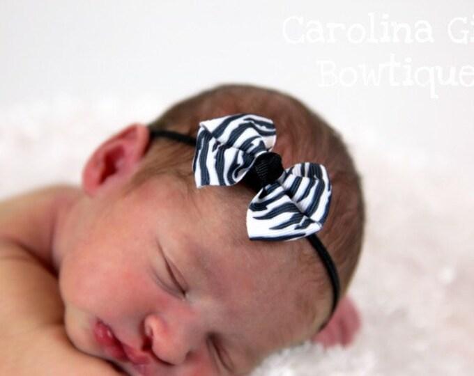 Zebra Newborn Headband - 2 in. Bitty Bow on an Elastic Headband - Girls Hair Bows - Baby Headband