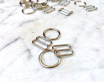 4 pieces – 12mm – of Silver plated bra rings & sliders – for bra and swimwear making