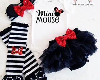 Mini Mouse Mama's Mini Twins glitter baby bodysuit leg warmer bloomer set silver and black baby girl set