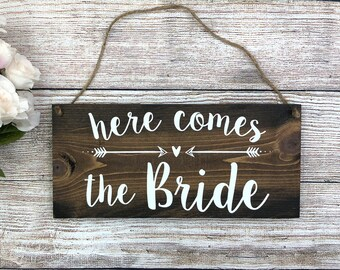 """Rustic Wood Wedding Sign """"Here Comes the Bride"""" - Ring Bearer Sign, Flower Girl Sign, Wedding Ceremony  - 12""""x5.5"""" Dark Walnut or Gray"""