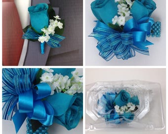 New Artificial Turquoise Rose Corsage, Turquoise Rose Mother's Corsage, Turquoise Corsage, Turquoise Wedding Flowers