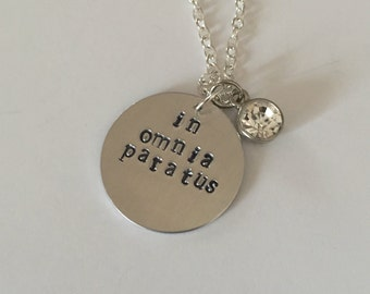 Gilmore Girls In Omnia Paratus hand stamped necklace