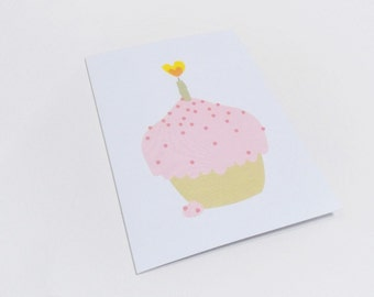 Birthday card, Cupcake greeting - Pink