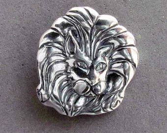 Sterling Silver Lion Shank Button - B4151SS