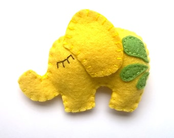Yellow Elephant ornament - felt ornaments - It's a girl - Christmas/Housewarming home decor - Baby shower ornaments - felt elephant