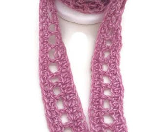 Crochet Skinny Scarf, Crochet Scarf, Ladder Scarf, Skinny Scarf, Pink Scarf, 30 Colours available, Long Skinny Scarf, Purple, Spring Scarf