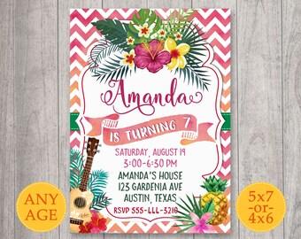 Hawaiian party invite, Pineapple invitation, Hawaiian birthday invitation, Luau invitation, Luau party, Aloha invitation, Tropical flowers