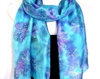 """Hand Painted Silk Scarf, Winter Snowflakes, Christmas Snowflakes, Blue Purple 71"""" x 18"""", Gift For Her"""