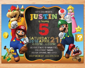 Super Mario Birthday Invitation, Super Mario Invitation, Super Mario Birthday Party Invitation, Mario Bros Invitation, Luigi, Yoshi, Mario