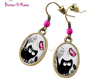 """""""Pink butterfly and the cat"""" earrings cabochon glass gunmetal gray costume jewelry"""