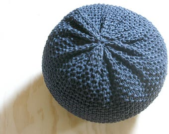 BUMS + FEET 1 Knitted Pouf - ottoman, foot stool, floor pillow - made-to-order in jersey t-shirt yarn