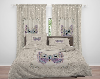Boho Butterfly Comforter or  Duvet Cover, Twin  Full Queen King, , Rug, Curtains, Throw Pillow, Sparkling Butterfly