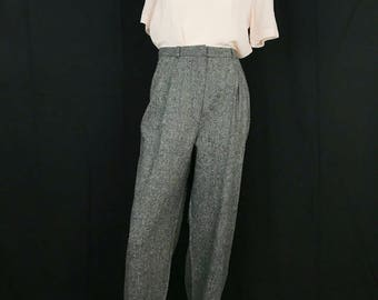 "Vintage Grey Wool Trousers || 90's High Waisted Pants || 31"" Waist"