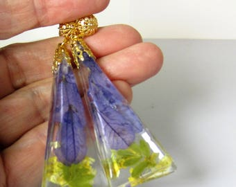 Soft LavenderPost  Earrings,  Real Flower Earrings, Pressed Flower Jewelry,  Resin (3019)