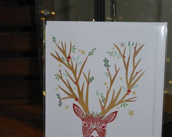 Adorned deer christmas card