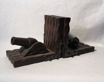 Cannon and cannon ball wooden bookends made in Spain