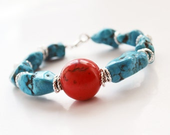 Southwest Bracelet Boho Bracelet Bangle Bracelet Turquoise Bracelet Gemstone Bracelet Silver Bracelet Southwest Jewelry Stacking Bracelet