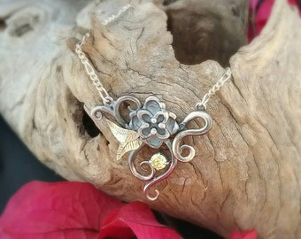 Art nouveau inspired floral silver and gold necklace