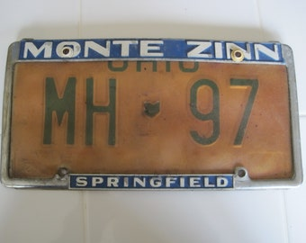 Vintage Ohio License Plate With Monte Zinn Springfield Frame MH 97