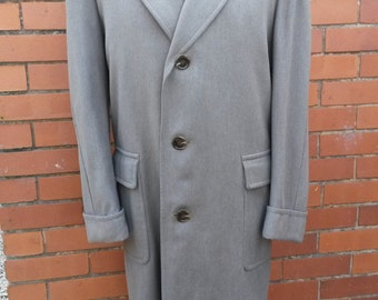 1950s Mens Overcoat West of England Cloth Overcoat Vintage Mens Overcoat Turn Back Cuffs Half Lined Mens Coat