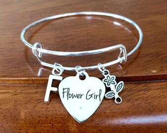 Personalised flower girl bracelet, flower girl gift, flower girl charm bracelet, flower girl jewellery, flower girl jewelry, bangle