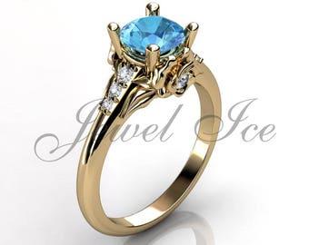 Aquamarine & Diamond Engagement Ring, 14k Yellow Gold Flower Engagement Ring, March Birthstone Ring, Aquamarine Floral Ring BR-1038-2